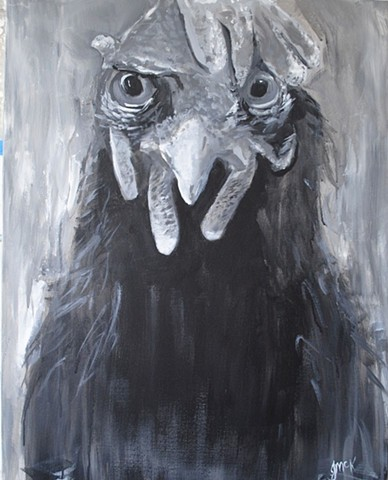 Black and White painted portrait of a hen