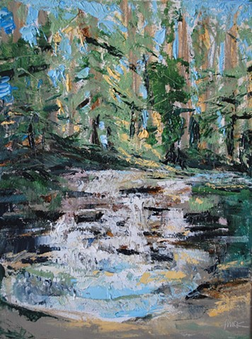 oil painting of a waterfall in the forest