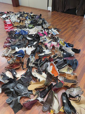 This. This Is My Land, Assemblage of Inter-Continental Collected Shoes from Migrants, Various Dimensions