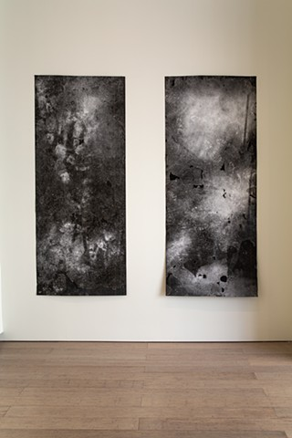 "I, Used To Be I & II | Plaster Particles on Roofing Paper, Double Sided Adhesive Tape | 79"" * 32"""