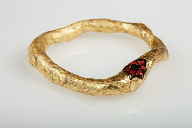 gold flower bangle in crimson