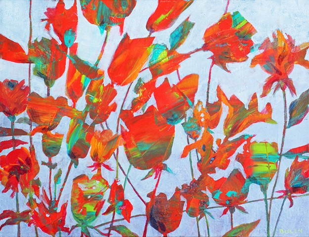 abstract flowers in red, orange, green and violet on light blue
