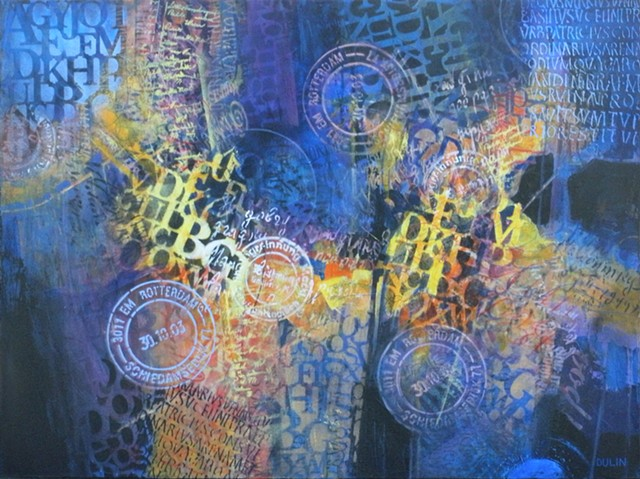 Abstract design made up of shapes and stenciled patterns in blue, yellow, black, and orange by Leslie J. Dulin.