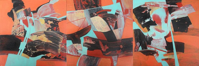 abstract, non-representational triptych in acrylic on canvas in aqua, red, tan and orange by Leslie J. Dulin.