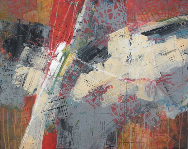 Abstract, non-representational painting in acrylic on canvas in red, gray and cream with stenciling by Leslie J. Dulin