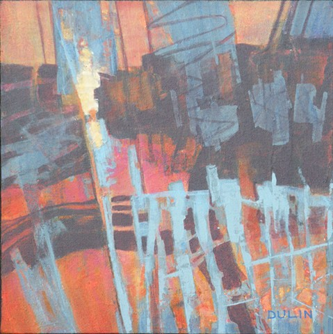 Abstract, non-representational painting in acrylic and graphite on canvas in black, blue and orange by Leslie J. Dulin.
