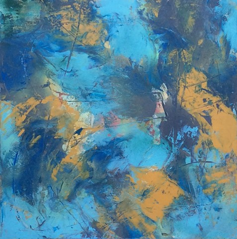 abstract, nonrepresentational painting in acrylics on canvas in gray, yellow and blue by Leslie J. Dulin.