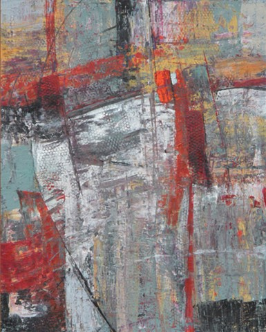 Abstract acrylic painting in red, white, yellow and blue-green with raised textures in patterns