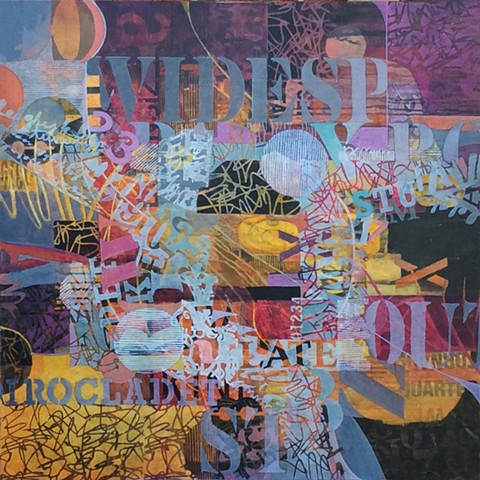 Abstract acrylic painting featuring words about Bonnaroo painted or collaged on canvas in maroon, purple, black and yellow by Leslie J. Dulin.