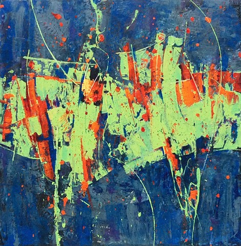 Abstract acrylic painting in lime green, black, red, blue and orange with line work and spatters by Leslie J. Dulin.