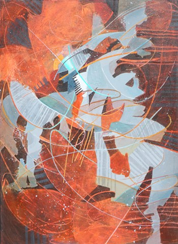 Abstract painting in acrylic on canvas with lots of line work in brown, orange, aqua and gray by Leslie J. Dulin.