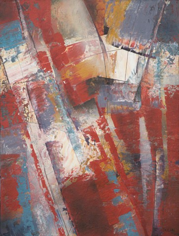 Abstract acrylic painting on canvas in red, white and blue, with yellow accents by Leslie J. Dulin