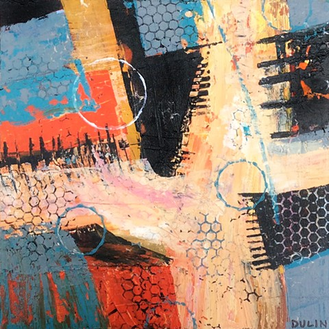 Abstract acrylic painting in black, red, blue and orange with line work and stamping by Leslie J. Dulin