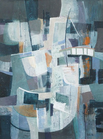 Abstract made of shapes in gray, white and blue-green with touches of orange.