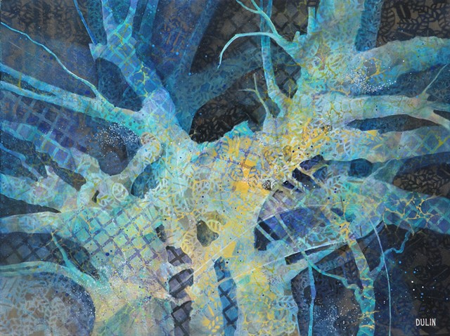 Abstracted tree acrylic painting in blue, turquoise, black, yellow, and green with stenciled patterns by Leslie J. Dulin.