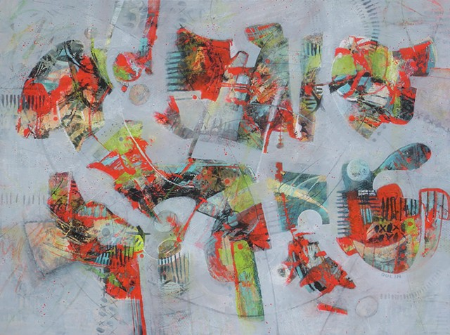 Abstract painting in red, black, blue and green on light gray with graphite drawing
