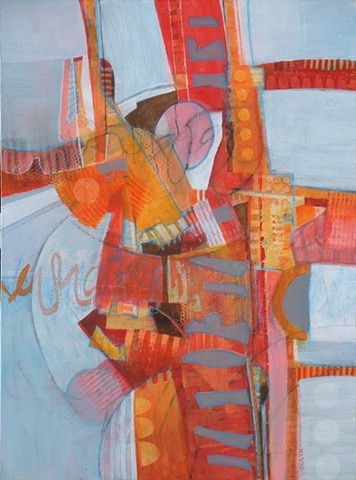 abstract painting in red, orange and gray on light blue with drawing in graphite