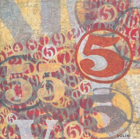 Abstract design made up of stenciled,stamped and outlined numbers in red, gray and yellow by Leslie J. Dulin