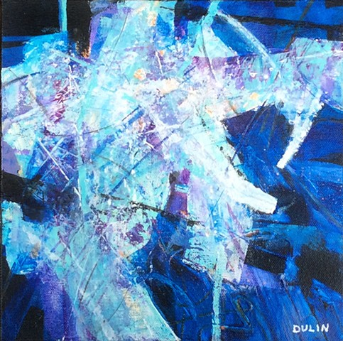 Abstract acrylic painting on canvas in purple, white, black and blue, with yellow accents by Leslie J. Dulin