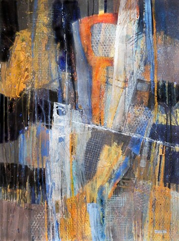 Abstract acrylic painting on paper in black, gray, blue and orange with line work by Leslie J. Dulin.