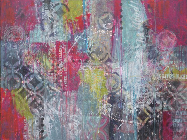 Abstract acrylic painting in pink, aqua and black with stenciling