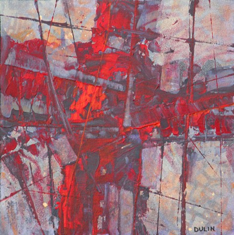 Abstract, non-representational painting in acrylic on canvas in red, gray and purple by Leslie J. Dulin.