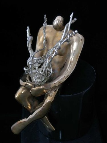 Original, The Wait,, Cast solid Silver and Bronze, Marble,One of a Kind, Fine Art, Gallery Shows,Carmen M. Perez,