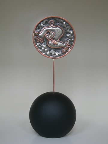 Original, Dancing Under The Stars,Sterling Silver, Copper, Marble,One of a Kind, Fine Art, Gallery Shows,Carmen M. Perez,