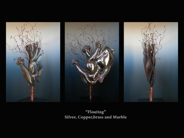 Original, Floating,silver, Copper, Marble, fabrication,One of a Kind, Fine Art, Gallery Shows,Carmen M. Perez,