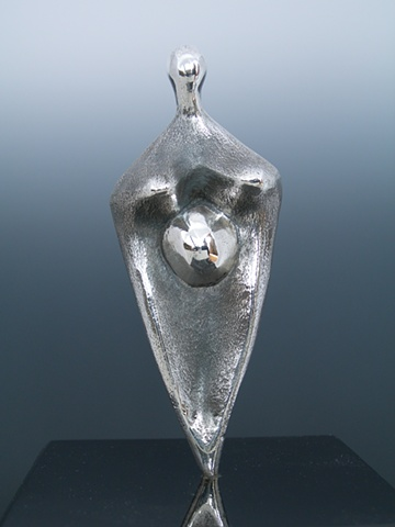 Original, Ala La Madre Tierra,, Solid Cast silver, Marble,One of a Kind, Fine Art, Gallery Shows,Carmen M. Perez,