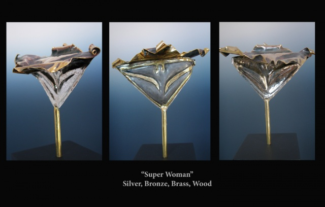 Original, Super Woman,Brass, Silver, Marble,One of a Kind, Fine Art, Gallery Shows,Carmen M. Perez,