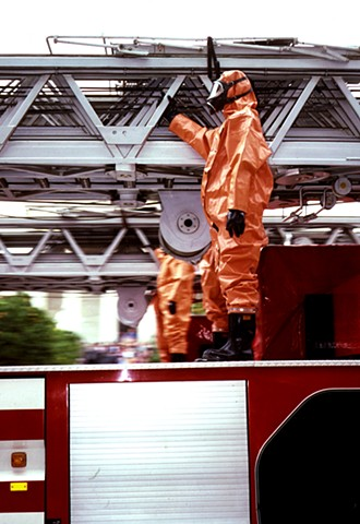 Hazardous Fireman. 1988. Athens, Greece. 3ft x 6ft. Cibachrome transparency.