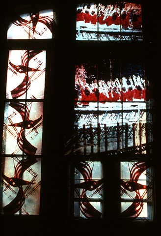 Left view detail. The Waves Of Children And The S's In Flags. 1991. 30ft x 15t. Cibachrome Transparencies. Cibachrome transparencies. Visual Studies Workshop. Rochester, NY.