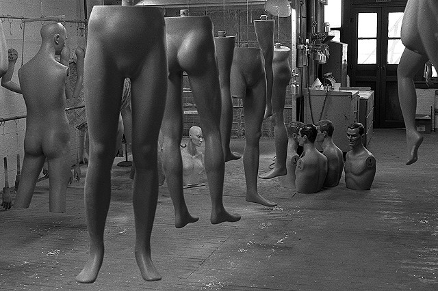 """Making Men"" Second floor of the mannequin factory for Hudson's Department Store. Detroit. 1978."