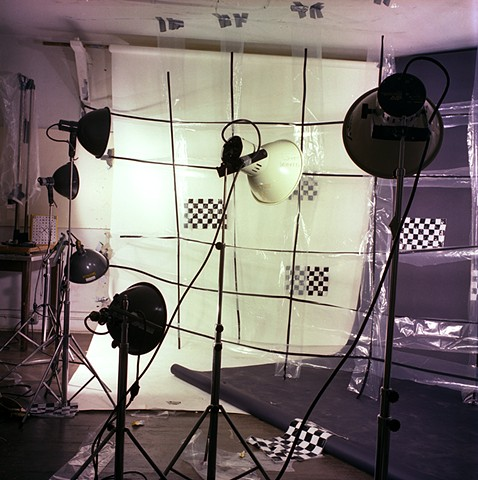 """Checkered Black And White Set For An Installation In Color"". 1982. 20in. x 24in. Chromogenic print."