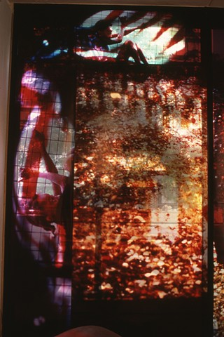 Atrium. 9ft x 4.5ft Cibachrome film transparencies taped to the windows of  the Museum Of Contemporary Art. Chicago.
