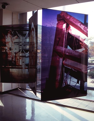Naos Cataclysmos. 3 details. 3-4ft x 5-7ft Cibachrome trans.parencies. 1992