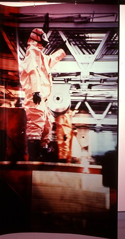Nuclear Fireman. Naos Cataclysmos. 1991. Visual Studies Workshop. 3.5ft x 7-9ft cibachrome transparencies.