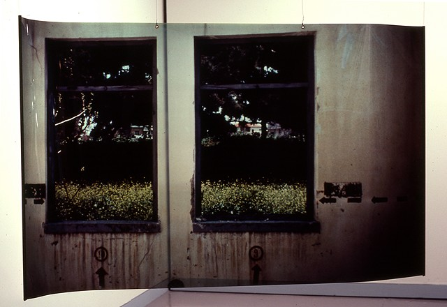 Window Barracks. Naos Cataclysmos. 1991. Visual Studies Workshop. 3.5ft x 7ft cibachrome transparency