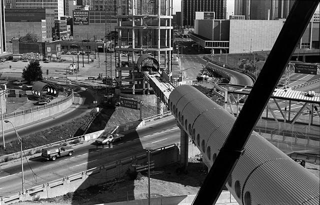 Making the Detroit People Mover Train. Larned Street/Civic Center to Jefferson Avenue/Tunnel to Canada.1978.