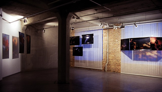 Left View. Cloud Walker. 2009. Zhou B Center. Three window. 3.5ft x 6ft. Duraclear transparencies.