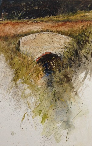 Original watercolor on illustration board of a culver on sunny summer day by Mark Royal Schroll Midwest regional artist