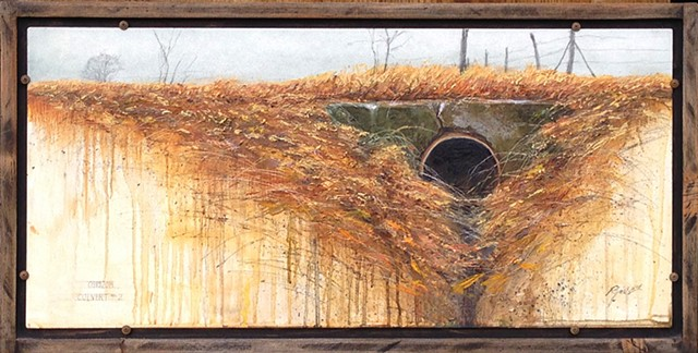 original oil and graphite of a road culvert by Mark Royal Schroll Midwest Regional artist.