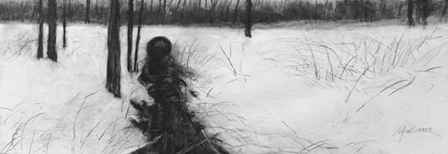 Original charcoal drawing on paper of a culvert at Story Lake by Mark Royal Schroll Artwork Midwest Regional Artist