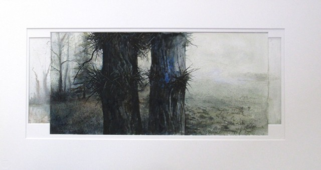 Original watercolor on illustration board of a Hawthorns on a foggy day by Mark Royal Schroll Midwest regional artist