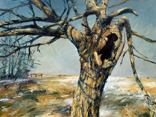 Original finger painting in oil on panel of a Dotard tree in the Massasauga Nature Preserve Illinois by midwestern artist Mark Royal Schroll