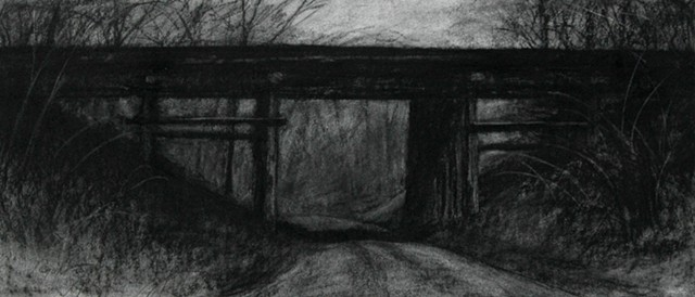 Original charcoal drawing on paper of the train trestle over Hollingshead Road by Mark Royal Schroll Artwork Midwest Regional Artist