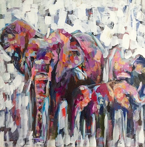 Pachyderm Family by Molly Wright    mollywrightart.com