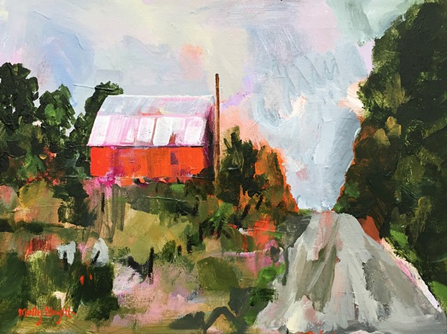 Red Barn on the Hill by Molly Wright  mollywrightart.com