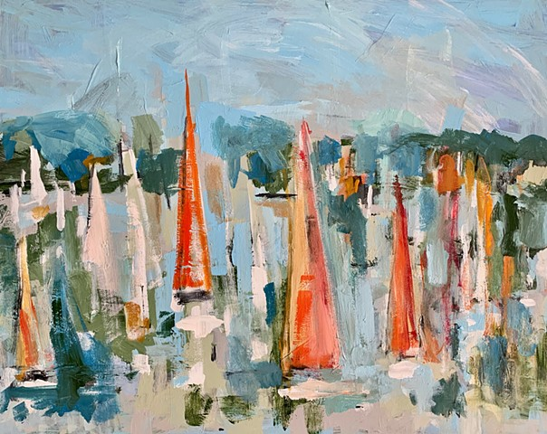 Orange Sails by Molly Wright .  mollywrightart.com
